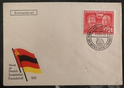 1951 East Berlin Germany DDR FDC First Day Cover Soviet German Agreement Stalin