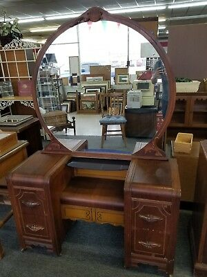 Antique Vintage 4 Drawer Vanity Dresser Desk w/mirror 1941 American Furniture Co