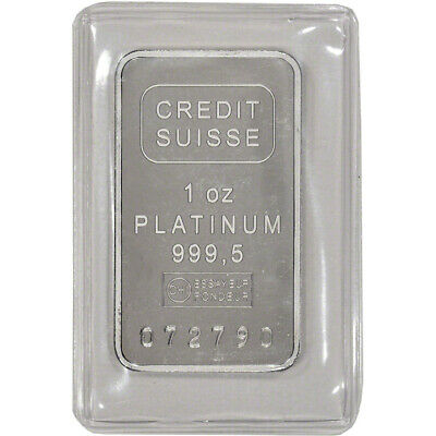 1 oz. Platinum Bar - Credit Suisse - 999.5 Fine with Certificate