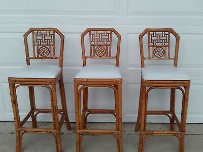 Mid Century Set Of 3 Brighton Style Chinese Chippendale Bar Stools