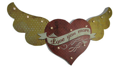 Scratch & Dent Love You More Vintage LED Winged Heart Wall Hanging