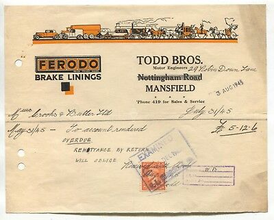 Mansfield - Todd Bros Motor Engineers / Ferodo brake linings, billhead from 1945