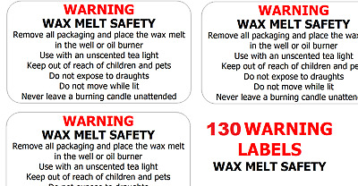 260 x WAX MELT SAFETY STICKERS WARNING Instructions requirement Labels