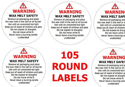 105x  WAX MELT SAFETY STICKERS WARNING Instructions requirement Labels