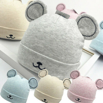 Toddler Boy Girls Warm Winter Woolen Beanie Hat Newborn Baby Ears Plush Cap KN