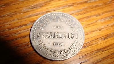 John C McRady Pharmacist Petersburg Tennessee Good For One Soda Token Drug Store