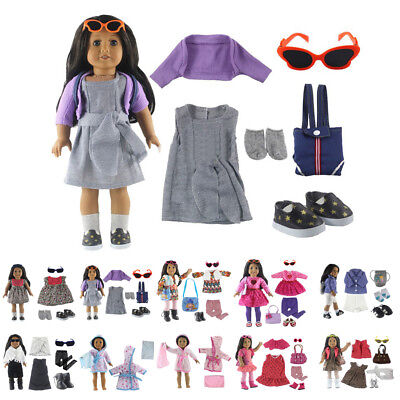 """Doll Clothes Set Glasses Shoes For 18"""" 45cm Doll Fashion"""