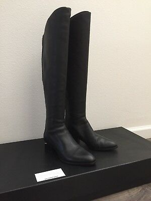 ALEXANDER WANG BLACK Leather Sigrid Tall Over The Knee Boots Rose Gold Metal