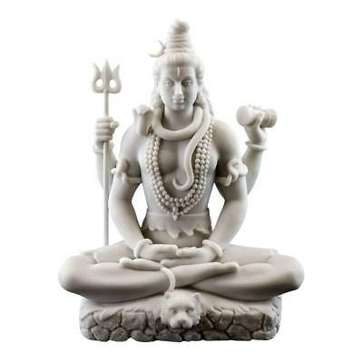 "LORD SHIVA STATUE 8"" Hindu Indian God White Marble Finish Resin Seated Figure"