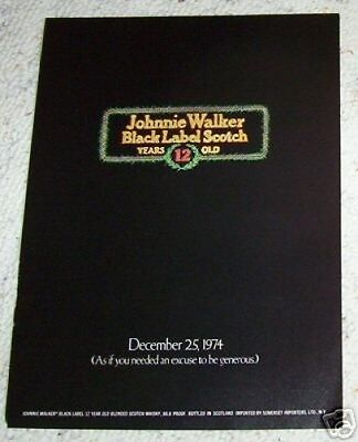 1974 print ad page - Johnnie Walker Scotch Whisky Christmas 1974 ADVERTISING