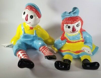 Rare Excellent 1960s VTG Raggedy Ann and Andy Large Porcelain Figures Theme