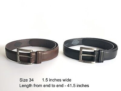 2 Dickies Genuine Leather Belts Black & Brown with Leather Buckle Mens Size 34