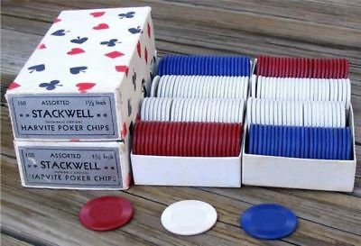 4 Unused Old Boxes Of Texas Holdem Poker Chips ~ Free S/h ~ See Description