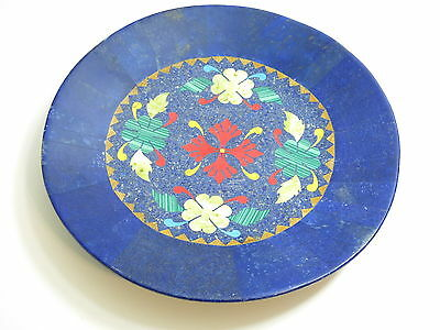 """Vintage / Antique Huge 14 1/2"""" Lapis Inlay Mosaic Blue / Floral Charger Plate"""