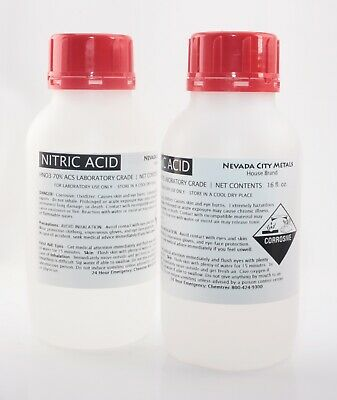 Nitric Acid 32 oz 70% Concentrated ACS Lab Grade Best for Gold Silver Refining
