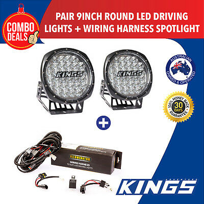 Pair 9inch Round LED Driving Lights + Wiring Harness Spotlight Offroad