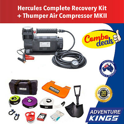 4WD Winch Recovery Kit + Air Compressor Thumper MKII Offroad Snatch Straps Tyre