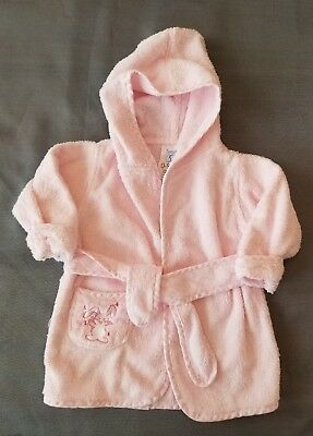 Infant Baby Girls Terry Cloth Pink Bunny Hooded Bathrobe Size 0-9 Months