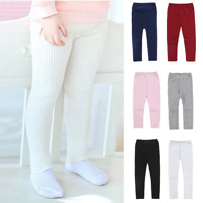 Kids Girls Solid Color Winter Thermal Warm Leggings Skinny Tight Trousers Pants