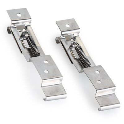 2pcs Trailer Number Plate Clips / Holder Spring Loaded Stainless Steel Silver