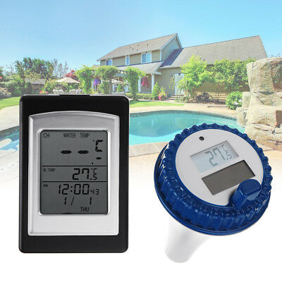 Solar Wireless Remote Floating Thermometer Swimming Pool Waterproof Tub Pond/Spa