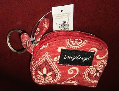 Longaberger Red Bandanna Coin Purse with Key Chain New