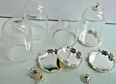 Domes x 4 small glass domes with metal fittings (M) Miniatures and Crafts F7233