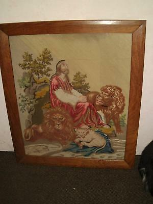 Large C19Th Berlin Woolwork  Tapestry Religeous Scene In Solid Oak Frame
