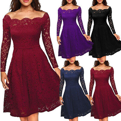 Women Off Shoulder Lace Formal Wedding Bridesmaid Evening Party Cocktail Dress