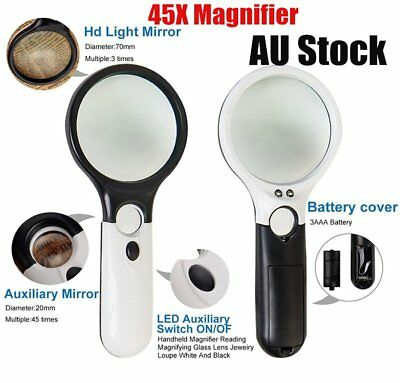 45X Handheld Magnifier Reading Magnifying Glass Jewelry Loupe With 3 LED Light @