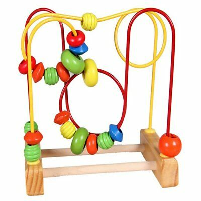 Fun Toddler Baby Colorful Wooden Mini Around Beads Wire Maze Educational Toy WM