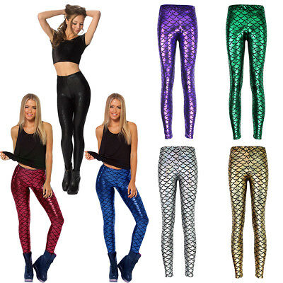 Hot Stretch Women Sexy Mermaid Scale Skinny Leggings Sports Pants Trousers WM