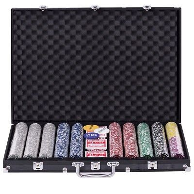 1000 Chips Poker Dice Chip Set 11.5 Gram Chips Playing Cards with Aluminum Case