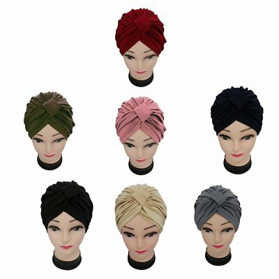 Women Indian Stretchable Chemo Pleated Turban Hat Headwrap Head Wrap Hijab Cap D