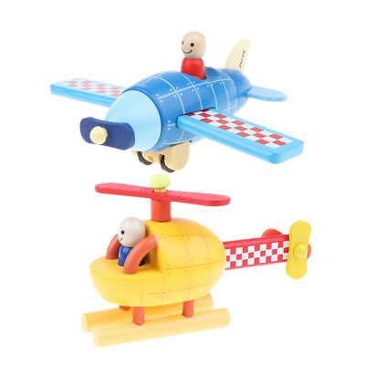 Wooden DIY Toy Magnetic Assembled Aircraft Model Kids Toy Gift Pack of 2