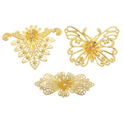 3pcs Metal Filigree Butterfly Peacock Charms Pendants Hair Jewelry Findings