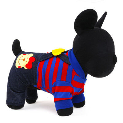 Fashion Pet Dog Jumpsuit Small Cat Puppy Clothes Striped Pajamas Dress Apparel