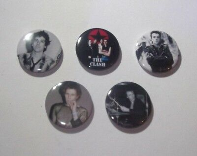 THE CLASH - 5 x BADGES * NEW * D PIN 25mm ( SET # 2 ) PUNK