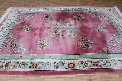 A SENSATIONAL OLD HANDMADE CHINESE ORIENTAL CARPET (310 X 213 cm)
