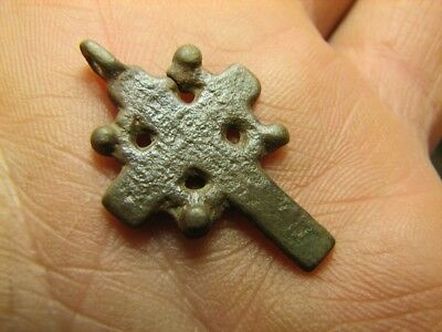 Rare !  Authentic ! Late Medieval Orthodox Bronze Cross Pendant #829