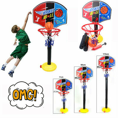 Kids Sports Portable Basketball Toy Set with Stand Ball & Pump Toddler Baby AI