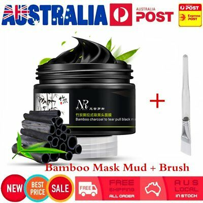 Bamboo Charcoal Blackhead Remover Deep Cleaning Peel Off Mud Face Mask + BrushRE