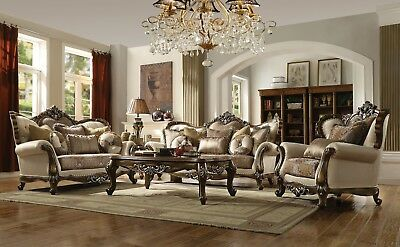 ACME Latisha tan antique oak finish traditional sofa and loveseat