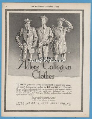 1911 David Adler & Sons Clothing Co. Milwaukee WI men's suit clothing style ad