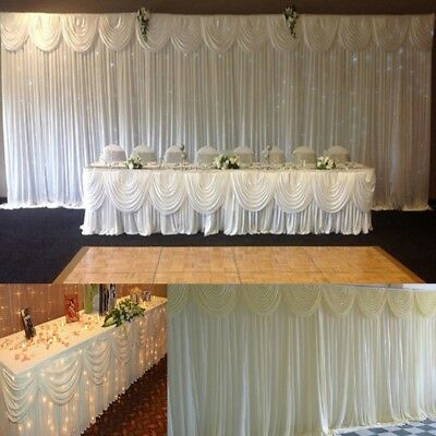 3M X 3M White Stage Backdrop Photography Background Drape Curtains Wedding Party