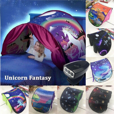Dream Tents Kid Unicorn Space Foldable Tent Pop up Indoor Bed House LED Light