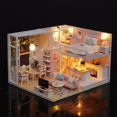 Kids Children's Doll House Wooden Miniature LED DollHouse Furniture DIY Kit Fun