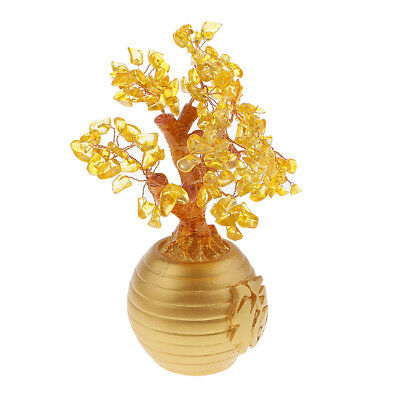 Yellow Feng Shui Crystal Money Tree Office Home Decor Bring Luck / Wealth