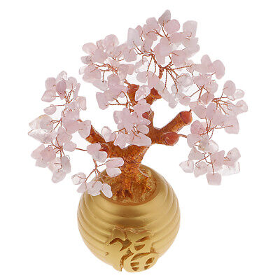 Money Wealth Bag Feng Shui Lucky Tree Natural Pink Crystal Tree