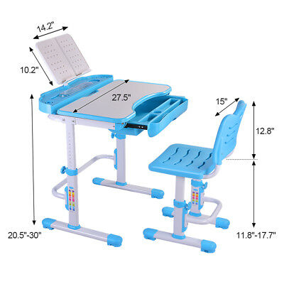 Children's Desk Height Adjustable Child Table Chair Set for Kids Student AB002